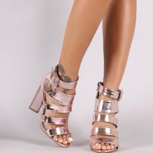 Strappy Metallic Heels in Rose Gold